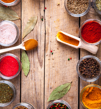 variability: Set of Spices on wood background. Food