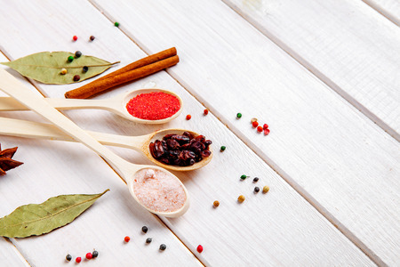 nicely: Spices on a white background. Nicely laid out