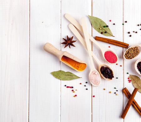 svan: Spices on a white background. Stock Photo