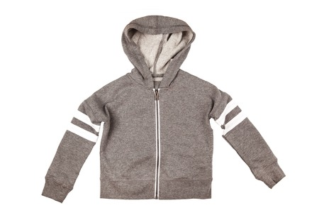 duffle: Gray hoodie sweater. Isolated on a white background.