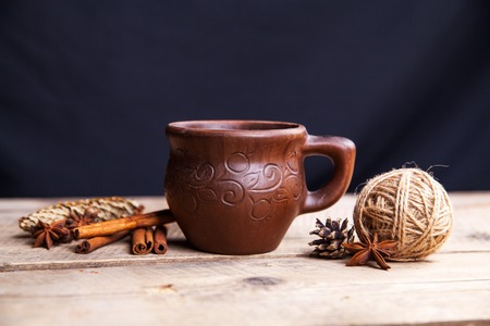 variability: Spices on wooden background. Food, taste