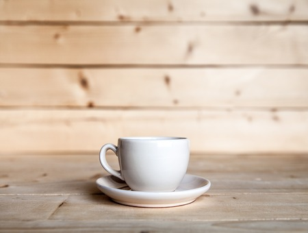 caffeine free: Cup of coffee on wooden table Stock Photo