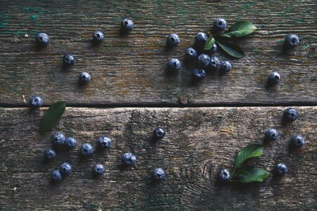 Blueberries on vintage wooden  top view Stockfoto