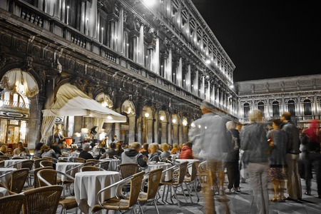 st mark's square: Musicians playing at night  in St Marks Square Venice