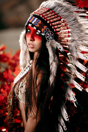 Beautiful girl in a suit of the American Indian on the background of maple leaves