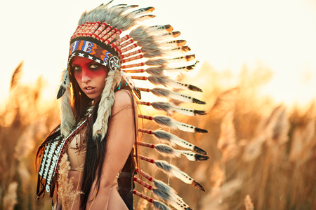 Beautiful girl in a suit of the American Indian on the background of reeds.