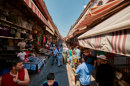 eminonu: ISTANBUL, TURKEY - JULY 28, 2015: Eminonu and Grand Bazaar is popular destination for tourists in Istanbul.