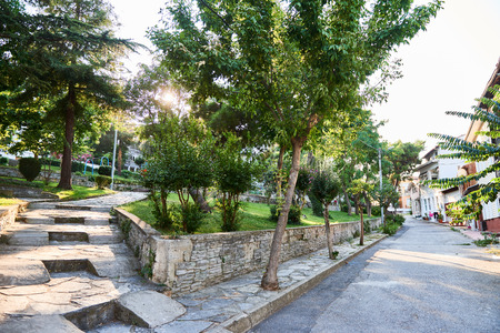 halki: Park Street on the island Heybeliada in Turkey. summer sunny