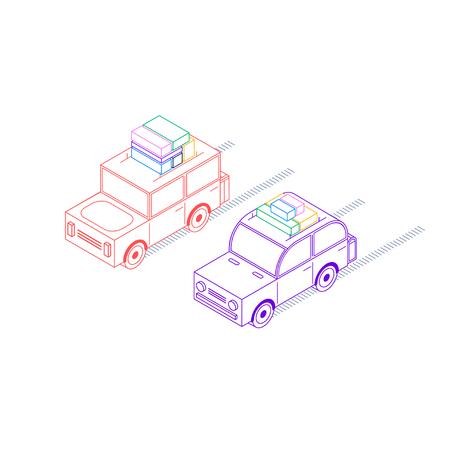 Two retro cars loaded with luggage ride, in isometric style, red and purple, with a square and rounded roof, with white filling Illustration