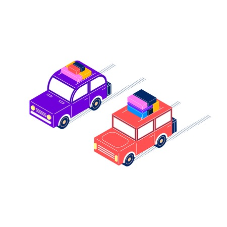 editorial: Two retro cars ride with luggage, purple with a rounded roof, and red with a square roof, isometric style Illustration