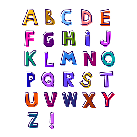 Abstract alphabet of bright different colors, drawn by hand, with a shifted black stroke