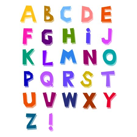 Abstract alphabet drawn by hand from different bright colors, cheerful style, cute, with shifted transparent shadow