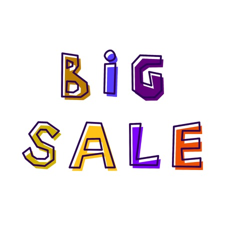 Big Sale, from abstract letters drawn by hand, in different colors, with a shifted outline Illustration