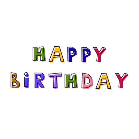 Happy Birthday. from abstract letters drawn by hand, in different colors, with a shifted outline Illustration