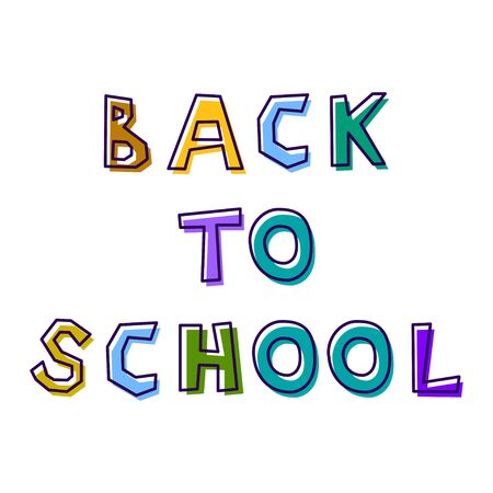 Back to school, from abstract letters drawn by hand, in different colors, with a shifted outline Illustration