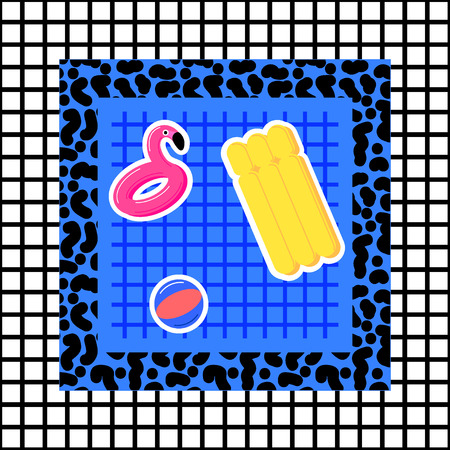 Memphis pool abstraction of flaminfo trampoline, ball, mattress, with a checkered background in the style of 80s Vectores