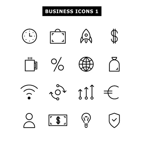 Set of black icons flat on business topics