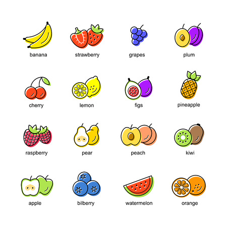 Flat icons set of colored fruits