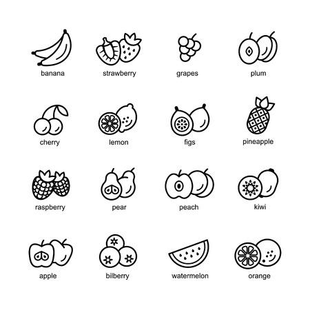 Fruit set of black icons isolated on white background Standard-Bild - 113002626
