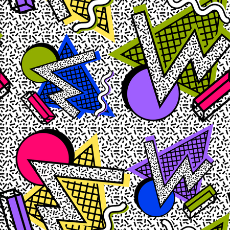 Pattern Memphis 80th of geometric shapes, bright colors against a noisy texture