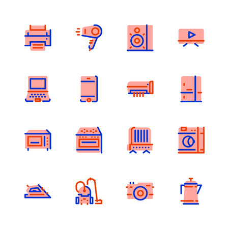 Icons of electronics, household appliances, flat, pink with blue and orange border, TV, oven, oven, hairdryer, kettle, washer, laptop, music, air conditioning, microwave, iron, fireplace, printer, telephone, refrigerator.