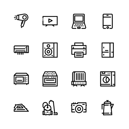 Set icons of household appliances in a flat style in black