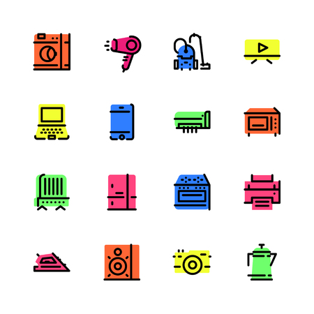 Set of home appliances icons in different colors with black stroke