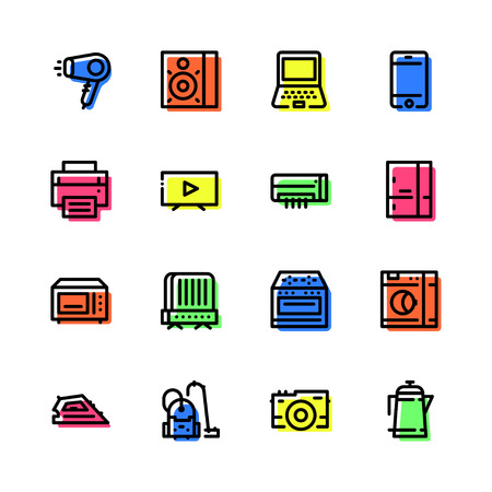 Set of icons of home appliances lines with colored shadow