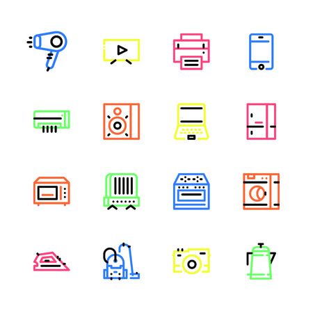 Set of icons of household appliances with a stroke of different colors Ilustração