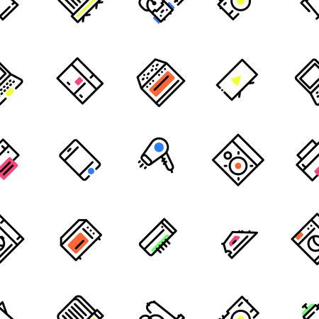 Pattern of household appliances icons, with black fill and multi-colored elements