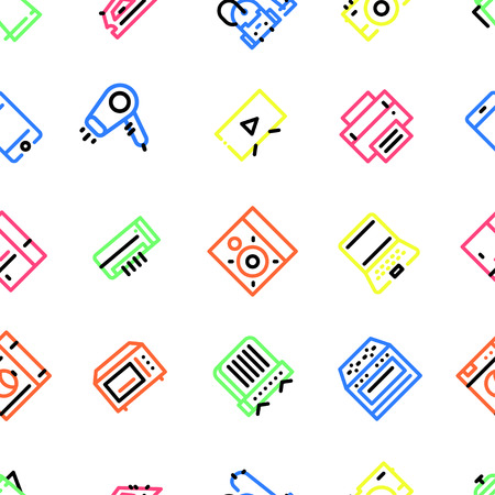 Pattern of household appliances icons, with multi-colored fill
