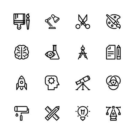 Icons creativity, black linear, Isolated set on abel background, for designer creator Ilustração
