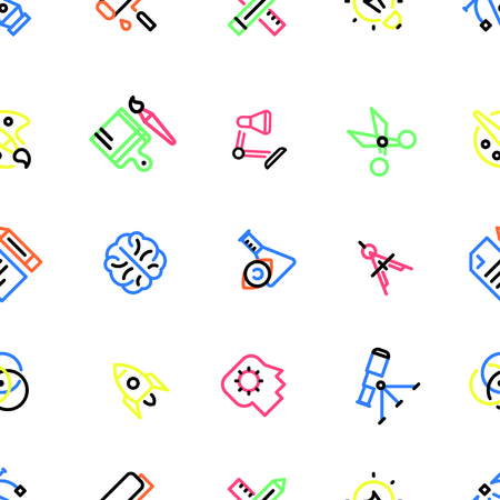 Pattern of creative icons with colorful fill, a set of different icons, according to the diagonal