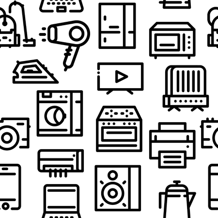 Pattern of household appliances icons black line