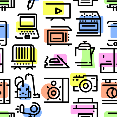 Pattern from a set of household appliances icons with a broken stroke and multi-colored shadows