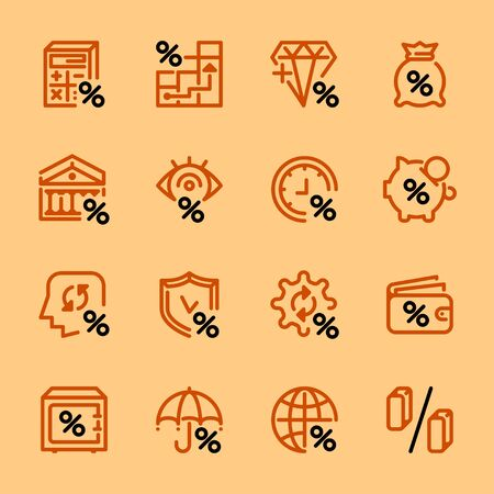 Set of linear icons of banks and money, loans, percent colored