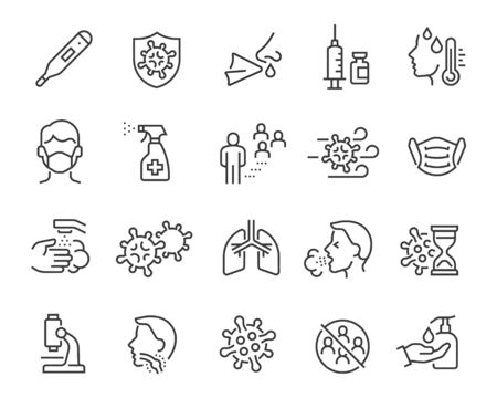 Flu icons set, medical mask, flu virus, symptoms, treatment, prevention, antiseptic, coronavirus infection and other 向量圖像
