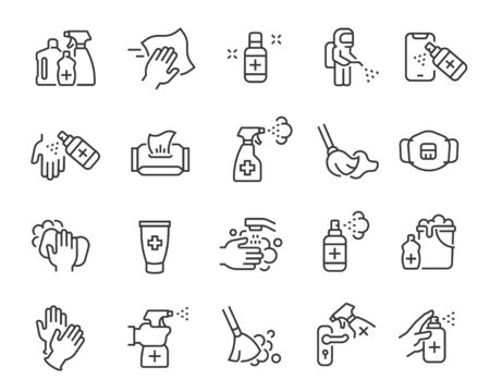Disinfection and cleaning icon set. Editable vector stroke. Illustration