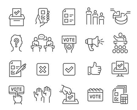Voting and Election Icons Set. Editable vector stroke.