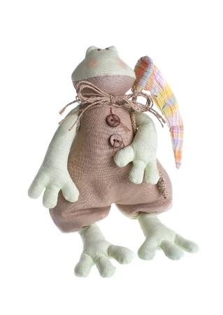 Textile toy tilde  frog on a white background  Stock Photo