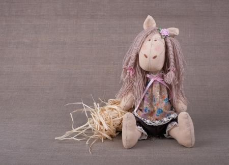 Textile horse handmade Stock Photo