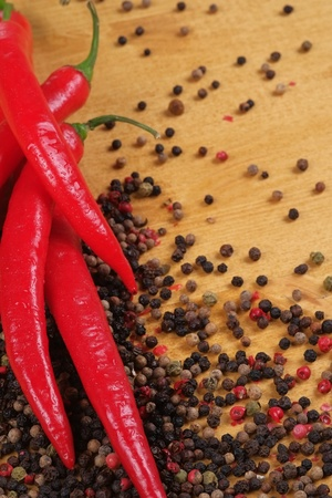 Red chili pepper on wooden background Stock Photo - 18517863