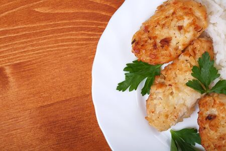 Chicken cutlet with rice