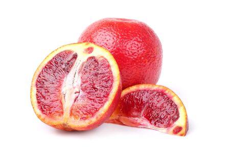 Blood oranges on a white background Stock Photo