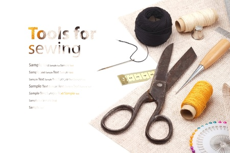 sartorial: Tools for sewing - background Stock Photo