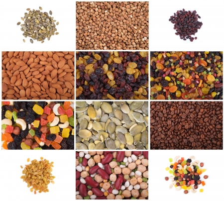 A set of dried fruits, nuts, legumes and cereals