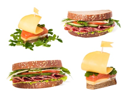 Collection of sandwiches with red fish and sausage on a white background