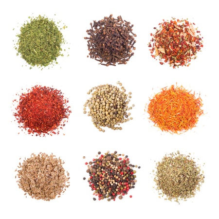 spice: A collection of different spices on white background