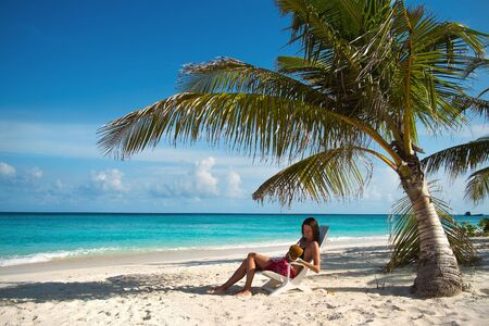 Girl on the beach  Maldives Lhaviyani Atoll  Stock Photo