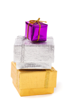 Three gift boxes over white background